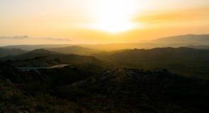 Zonsondergang in Rhodos royalty-vrije stock afbeeldingen