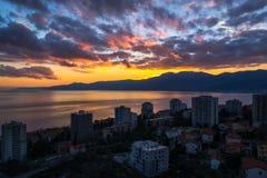 Zonsondergang in Rijeka royalty-vrije stock foto