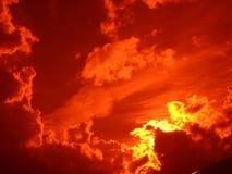 Zonsondergang rode nacht Stock Afbeeldingen