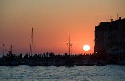 Zonsondergang in Rovinj Stock Afbeeldingen