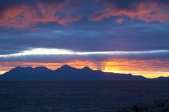 Zonsondergang, Rum, BinnenHebrides, Schotland Royalty-vrije Stock Fotografie