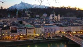 Zonsondergang in Salzburg, Oostenrijk stock footage