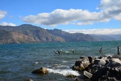 Zonsondergang in San Pedro Laguna Atitlan Lake Guatemala royalty-vrije stock afbeelding
