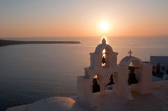 Zonsondergang in Santorini Royalty-vrije Stock Foto