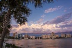 Zonsondergang in Sarasota stock afbeelding
