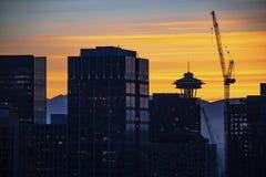 Zonsondergang in Seattle stock afbeeldingen