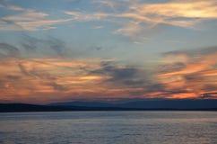 Zonsondergang Selce Kroatië Stock Afbeeldingen