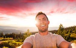 Zonsondergang Selfie Stock Afbeeldingen