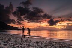 Zonsondergang in Seychellen Royalty-vrije Stock Fotografie