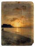 Zonsondergang, Seychellen. Oude prentbriefkaar. Stock Foto's