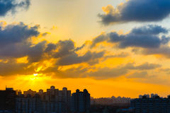 Zonsondergang in Shanghai stock afbeeldingen