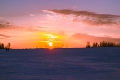 Zonsondergang in Siberië Royalty-vrije Stock Foto's