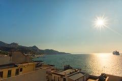 Zonsondergang in Sicilië Royalty-vrije Stock Afbeelding