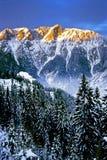 Zonsondergang in Sloveense alpen stock fotografie