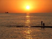Zonsondergang in Sotchi royalty-vrije stock afbeeldingen