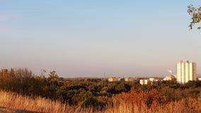 Zonsondergang in stad royalty-vrije stock fotografie