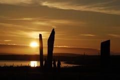 Zonsondergang in Stenness; Orkney Royalty-vrije Stock Fotografie