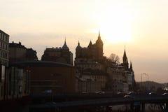 Zonsondergang in Stockholm, Zweden Stock Foto