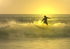 Zonsondergang surfer royalty-vrije stock foto