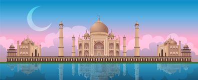 Zonsondergang in Taj Mahal in Agra, India, panoramische vector royalty-vrije illustratie