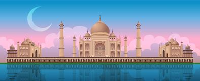 Zonsondergang in Taj Mahal in Agra, India, panoramische vector vector illustratie