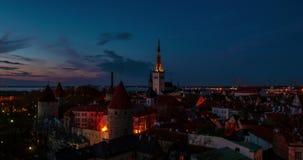 Zonsondergang in Tallinn stock videobeelden