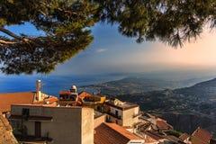 Zonsondergang in Taormina Stock Foto's