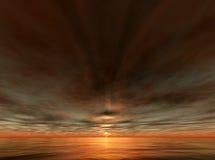 Zonsondergang - Terragen Royalty-vrije Stock Fotografie