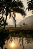 Zonsondergang in Thailand Stock Afbeelding