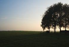 Zonsondergang tijdens een Oktober-stijging dichtbij Ootmarsum (Nederland) Royalty-vrije Stock Foto
