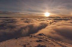 Zonsondergang tijdens inversie Tatry Stock Afbeeldingen