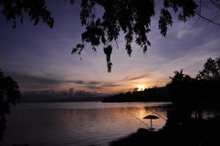 Zonsondergang in Tondano Stock Foto