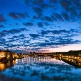 Zonsondergang in Toulouse, Frankrijk Stock Afbeeldingen