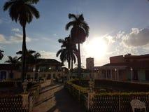 Zonsondergang in Trinidad stock foto's
