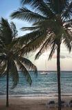 Zonsondergang in tropisch strand met boot en palmen Stock Foto