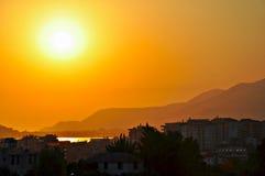 Zonsondergang in Turkije stock foto