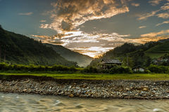 Zonsondergang, vallei Stock Foto