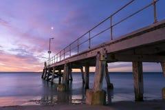 Zonsondergang van de kant van de Normanville-Pier Royalty-vrije Stock Afbeeldingen