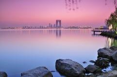Zonsondergang van de stad van China Stock Afbeeldingen
