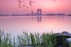 Zonsondergang van de stad van China Royalty-vrije Stock Fotografie