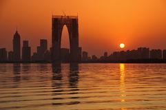 Zonsondergang van de stad van China Stock Fotografie