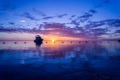 Zonsondergang van flic-Engels-Flac Mauritius Stock Afbeeldingen