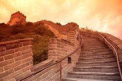 Zonsondergang van Grote Muur, Peking Stock Foto's
