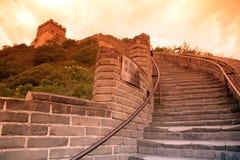 Zonsondergang van Grote Muur, Peking Stock Foto