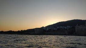 Zonsondergang van het kasteel stock afbeeldingen