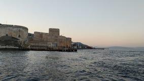 Zonsondergang van het kasteel stock afbeelding