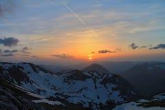 Zonsondergang van Hochschwab & x28; Oostenrijk & x29; stock foto