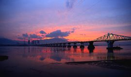 Zonsondergang van Minjiang Royalty-vrije Stock Afbeeldingen