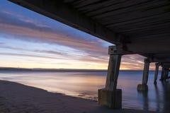 Zonsondergang van onder de Normanville-Pier Royalty-vrije Stock Afbeeldingen