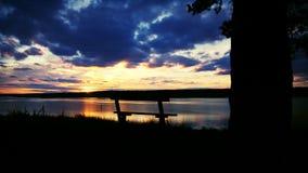 Zonsondergang van rivier stock fotografie